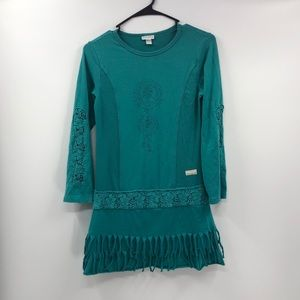 ⭐️ Naartjie Teal Boho Dress Tassels and Lace Cutx